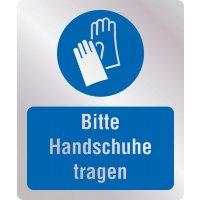 Bitte Handschuhe tragen - Hygiene-Schilder, Metall-Optik