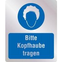 Bitte Kopfhaube tragen - Hygiene-Schilder, Metall-Optik