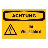 Sicherheitsschilder, Elektrotechnik - Warnung vor elektr. Spannung mit Wunschtext, praxiserprobt