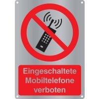 Eingeschaltete Mobiltelefone verboten - Kombischilder Premium Deluxe, EN ISO 7010