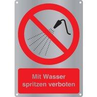Mit Wasser spritzen verboten - Kombischilder Premium Deluxe, EN ISO 7010