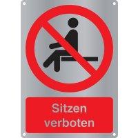 Sitzen verboten - Kombischilder Premium Deluxe, EN ISO 7010