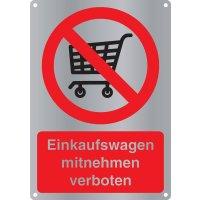 Einkaufswagen mitnehmen verboten - Kombischilder Premium Deluxe, EN ISO 7010