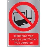 Mitnahme von Laptops und Tablet PCs verboten - Kombischilder Premium Deluxe, EN ISO 7010