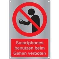 Smartphones benutzen beim Gehen verboten - Kombischilder Premium Deluxe, EN ISO 7010
