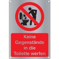 Keine Gegenstände in die Toilette werfen - Kombischilder Premium Deluxe, EN ISO 7010