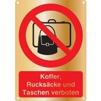 Koffer, Rucksäcke und Taschen verboten - Kombischilder Premium Deluxe, EN ISO 7010