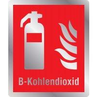 Feuerlöscher B-Kohlendioxid - Brandschutzschilder mit Symbol und Text, EN ISO 7010