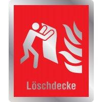 Löschdecke - Brandschutzschilder mit Symbol und Text, EN ISO 7010