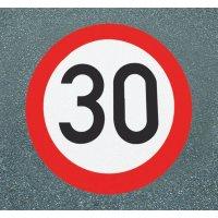 Höchstgeschwindigkeit 30 – Asphaltfolie zur Straßenmarkierung, R10 gemäß DIN 51130/ASR A1.5/1,2