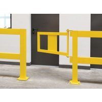 Tür für Rammschutz-Geländer, mit Federelement