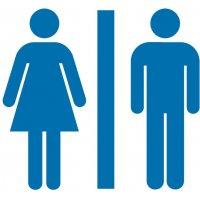 Damen und Herren - Piktogramm aus Folie, selbstklebend,  ISO 7001