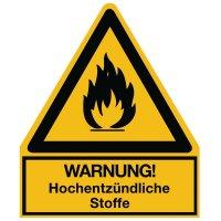 Warnung! Hochentzündliche Stoffe - Warnsymbol-Kombischilder für Gefahrstoffe