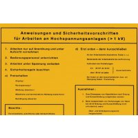 Arbeiten an Hochspannungsanlagen – Betriebsaushänge Elektrotechnik