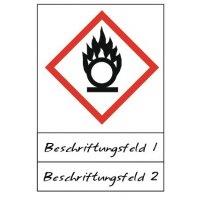 Flamme über einem Kreis - Gefahrstoffsymbole mit Schutzlaminat, Beschriftungsfeld, GHS/CLP