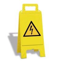 Warnung vor elektrischer Spannung - Warnaufsteller mit Sicherheitssymbolen, EN ISO 7010