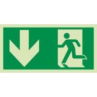 """""""Rettungsweg / Notausgang und Richtungspfeil links unten"""" Kombi-Schilder nach EN ISO 7010"""