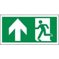 """""""Rettungsweg / Notausgang und Richtungspfeil links oben"""" Kombi-Schilder nach EN ISO 7010"""