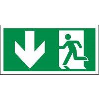 Notausgang links unten - XTRA-GLO Rettungszeichen Kombischilder, EN ISO 7010