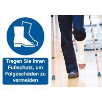 Fußschutz benutzen – Symbolschilder Prävention