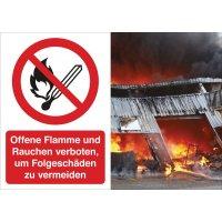 Keine offene Flamme; Feuer, offene Zündquelle und Rauchen verboten – Symbolschilder Prävention