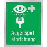 Augenspüleinrichtung - Erste-Hilfe-Schilder in Metall-Optik, EN ISO 7010