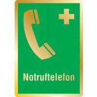 Notruftelefon - Erste-Hilfe-Schilder in Metall-Optik, EN ISO 7010