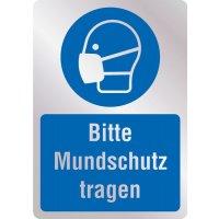 Bitte Mundschutz tragen - Hygiene-Schilder, Metall-Optik