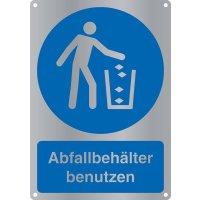 """Kombi-Gebotszeichen-Schilder """"Abfallbehälter benutzen"""" nach EN ISO 7010"""