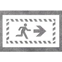 Notausgang rechts - Fluchtweg-Schablonen zur Boden- und Wandmarkierung