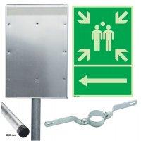 Sammelstelle / Richtungspfeil links - Kombischilder-Sets, EN ISO 7010