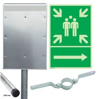 Sammelstelle / Richtungspfeil rechts - Kombischilder-Sets, EN ISO 7010