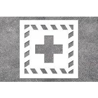 Erste Hilfe - Rettungszeichen-Schablonen zur Boden- und Wandmarkierung