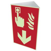 """Brandschutzzeichen-Kombischilder """"Brandmelder"""" mit Richtungspfeil unten nach EN ISO 7010"""