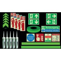 Standard Fluchtwegkennzeichnug Set, langnachleuchtend, ISO 3864 1-4, ISO 16069, EN ISO 7010