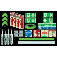 Premium Fluchtwegkennzeichnug Set, langnachleuchtend, ISO 3864 1-4, ISO 16069, EN ISO 7010