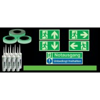 Basic Fluchtwegkennzeichnug Set für Treppen, langnachleuchtend, ISO 3864 1-4, ISO 16069, EN ISO 7010
