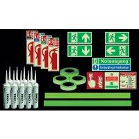Standard Fluchtwegkennzeichnug Set für Treppen, langnachleuchtend, ISO 3864 1-4, ISO 16069, EN ISO 7010