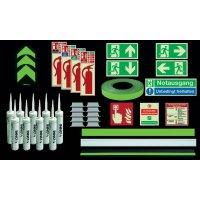 Premium Fluchtwegkennzeichnung Set für Treppen, langnachleuchtend, ISO 3864 1-4, ISO 16069, EN ISO 7010