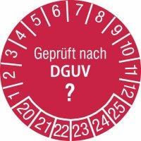 """Prüfplaketten mit individuellem DGUV-Zahlenschlüssel """"Geprüft nach DGUV"""", fälschungssicher"""
