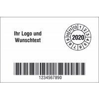 Individuelles Grundetikett mit Barcode, stark haftend, mit Schutzlaminat