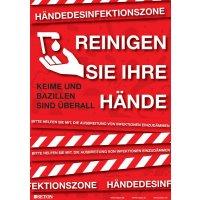 Desinfektionszone - Hinweisposter CORONA, selbstklebend