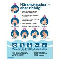 Händewaschen - aber richtig! - Hinweisposter CORONA, selbstklebend