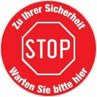 """Antirutsch-Bodenmarkierung """"STOP - Zu Ihrer Sicherheit - Warten Sie bitte hier"""""""