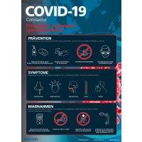 Prävention, Symptome, Maßnahmen - Hinweisposter CORONA, selbstklebend