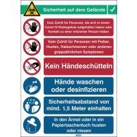 """Covid-19 Arbeitsschutz-Maßnahmen Schilder """"Verhaltensregeln"""", Deutsch/Englisch"""
