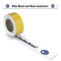 Bitte Mund und Nase bedecken - Warnmarkierungsband mit Hygienehinweis