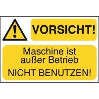 VORSICHT! Maschine ist außer Betrieb NICHT BENUTZEN! - Lockout Tagout Maschinenkennzeichnung