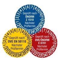 Standard-Prüfplaketten nach ÖNORM in Wunschfarbe, Dokumentenfolie