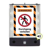 Durchgang verboten - SETON Schild-Wächter, Bewegungsmelder mit Sprachausgabe & LED-Licht